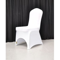 Premium Quality White Spandex Chair Cover - Arch Front Sample