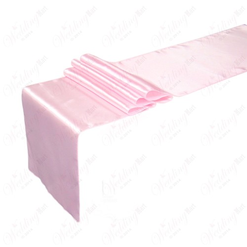 """Baby Pink Satin Table Runners (14""""x108"""")"""
