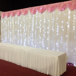 6M Pleated White Wedding Backdrop Curtain with Baby Pink Swag