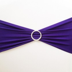 Purple Spandex Chair Band with Buckle - Pack of 10