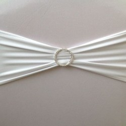 White Spandex Chair Band with Buckle - Pack of 10