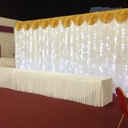 6m White Wedding Backdrop Curtain with Gold Detachable Swag