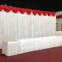 6m White Wedding Backdrop Curtain with Red Detachable Swag