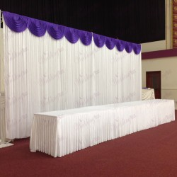 6m White Wedding Backdrop Curtain with Purple Detachable Swag