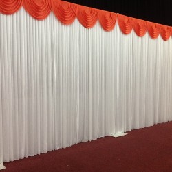 6m White Wedding Backdrop Curtain with White Detachable Swag