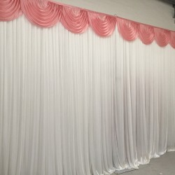 6m White Wedding Backdrop Curtain with Dusky Pink Detachable Swag