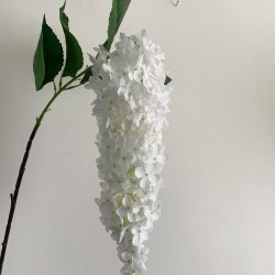 Artificial Hanging Wisteria Stem - White