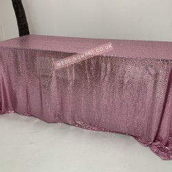"""Pink Sequin Tablecloth - 70""""x144"""""""