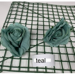 Teal Rose Heads - Pack of 10
