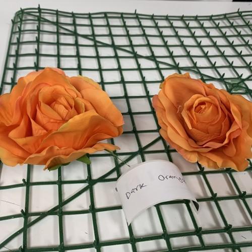 Dark Orange Rose Heads - Pack of 10