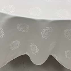 "90""x90"" Premium White Damask Table Cloth"