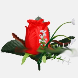 Red Small Rose Heads in bud with gypsophila - Pack of 12