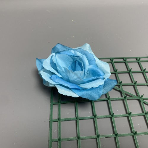 Artificial Light Blue French Rose Heads - Pack of 12