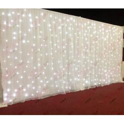6mx3m White Wedding Backdrop Voil Overlay