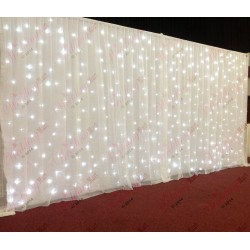 6M White Wedding Backdrop Voil Overlay
