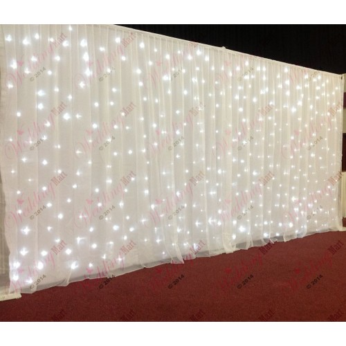 6mx3m White Wedding Backdrop Voil Overlay