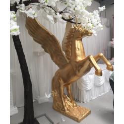 Life Size Resin Fiberglass Pegusus Horse Sculpture Statue - Gold
