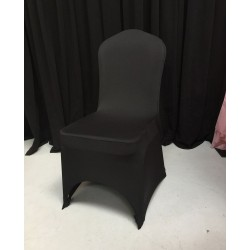 Pack of 100 Premium Black Spandex Chair Covers - Arch Front