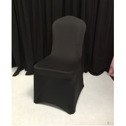 Pack of 100 Premium Black Spandex Chair Covers - Flat Front
