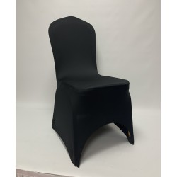 Premium Black Spandex Chair Covers - Arch Front