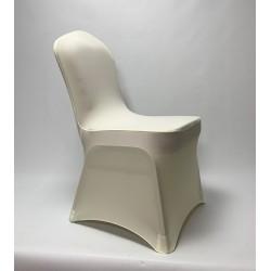 Premium Cream Spandex Chair Covers - Flat Front