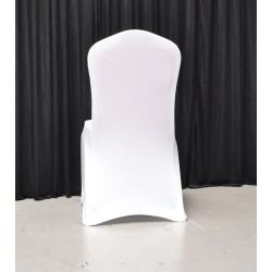 Pack of 100 Premium White Spandex Chair Covers - Flat Front