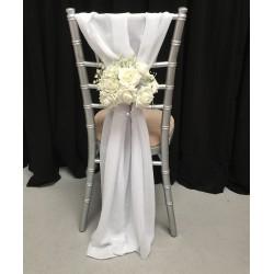 White Chiffon Vertical Chair Drops   Chiffon Bows