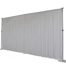 6Mx3M White Pleated Backdrop Curtain