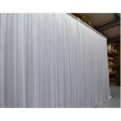 White Pleated Wedding Backdrop Curtain with Economy Stands