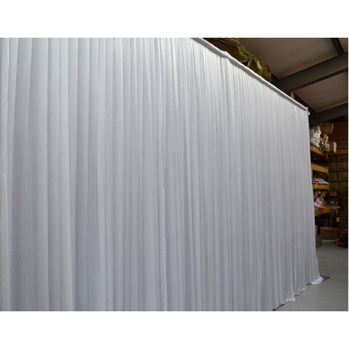 9Mx3M White Pleated Backdrop Curtain