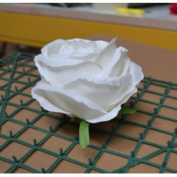 Pack of 10 Artificial Closed Rose Heads - White