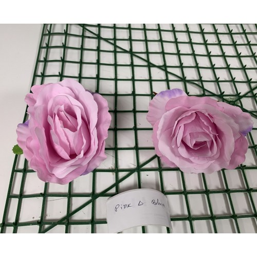 Pink and Blue Rose Heads -  Pack of 10
