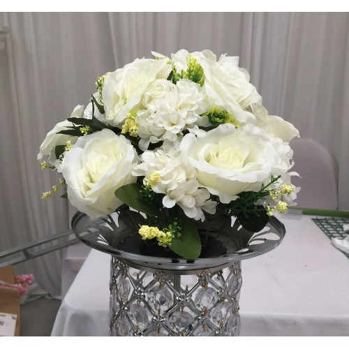 White Wedding  Walkway Stage Flower Arrangement