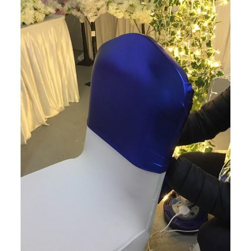 Metallic Chair Hood, Lamhe Chair Bows, Metallic Table Overlay - Royal Blue