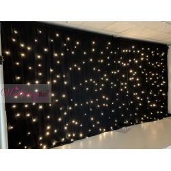 6Mx3M Black LED Starlight Wedding Backdrop - WARM White LEDs