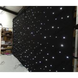 3Mx3M Black LED Wedding Star Cloth Lighted Backdrop - ICE WHITE LEDs