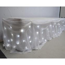 6M LED Star light Wedding Top Table Skirt - Ice White