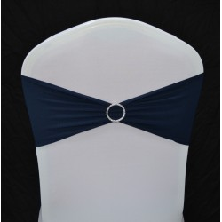 Navy Blue Spandex Chair Band with Buckle - Pack of 10