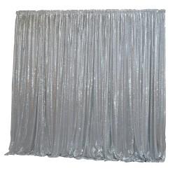 6m (w) x 3m (h) Sequin Wedding Backdrop Curtain -  Silver