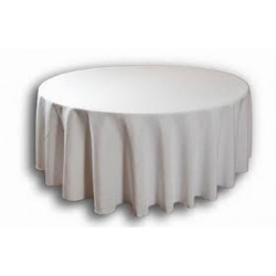"108"" White Round Polyester Table Cloth"