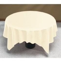 "90""x90"" Ivory Polyester Table Cloths"