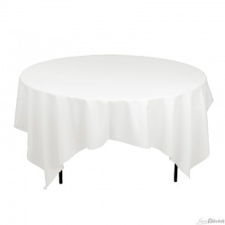 "90""x90"" White Square Polyester Table Cloths"