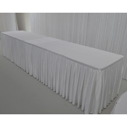 8M White Top Table Skirt